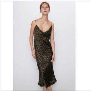 ZARA Leopard Slip Dress